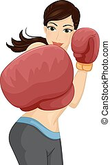 Illustration of a Woman Throwing a Punch