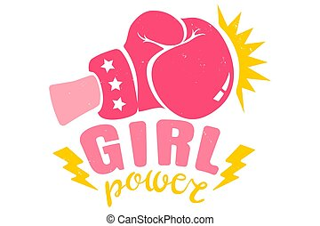 Girl boxing with pink glove and ribbon