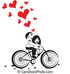 Girl boy cycling with big red heart for valentine day vector