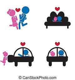 girl boy sticks - love concept
