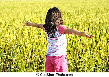 girl, bras, ouvert, liberté, nature