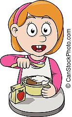 Girl breakfast cartoon