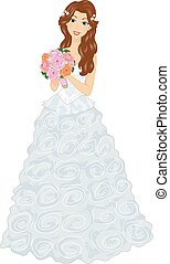 Girl Bridal Gown Ruffles Bouquet - Illustration of a Gown in...