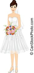 Girl Bridal Short Gown Bouquet - Illustration of a Bride...