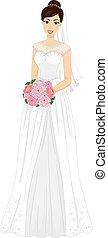 Girl Bride Gown Bouquet