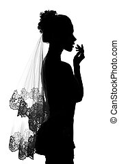 Girl bride silhouette. - Girl with long veil bride...