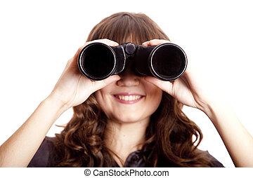 girl, brunette, binocular.