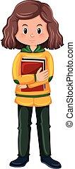 girl, brunette, caractère, étudiant