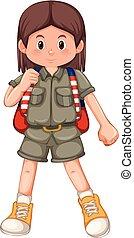 girl, brunette, caractère, scout