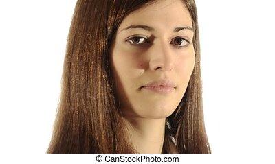girl, brunette, coups, baiser