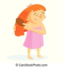 Girl brushing hair vector illustration on white background