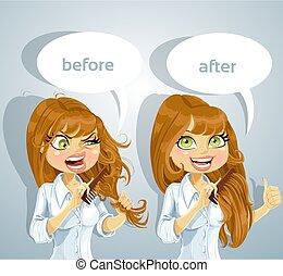 Girl brushing her hair - Cute brown haired girl brushing her...