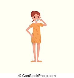 Girl brushing her teeth, beauty treatment, young woman taking care of herself vector Illustration on a white background