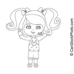 Girl brushing teeth - doodle illustration