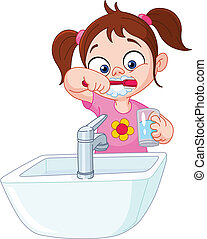Girl brushing teeth - Young girl brushing her teeth