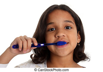 Young girl with brown hair brushing teeth on white background