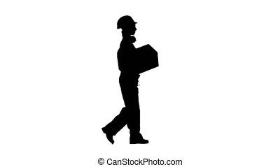 Girl builder carries a cardboard box. Silhouette. White...