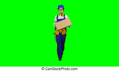 Girl builder in glasses carries a cardboard box. Green screen