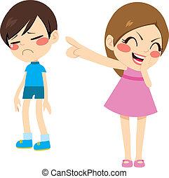 Girl Bullying Boy - Evil little girl bullying poor sad boy...