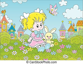 Girl, Bunny and Butterfly