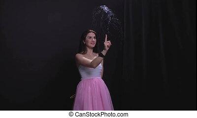 Girl bursting big soap bubble - Woman with soap bubbles,...