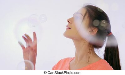 Girl Bursts Bubbles
