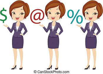 Girl Business Dollar Email Percentage Illustration