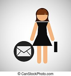 girl, business, icône