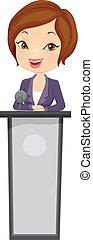 Girl Business Speaker Illustration