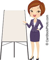 Girl Business Speaker Presentation Illustration