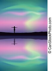girl by the lake at beautiful colorful aurora borealis