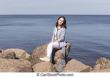 girl by the sea shore