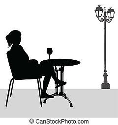 girl, café, silhouette