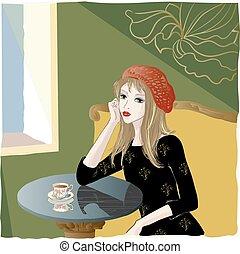 girl, café