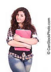 girl, cahier, étudiant