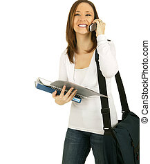 Girl Calling Her School Mate - caucasian student girl...