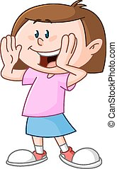 Girl calling someone - Young girl calling someone circling...