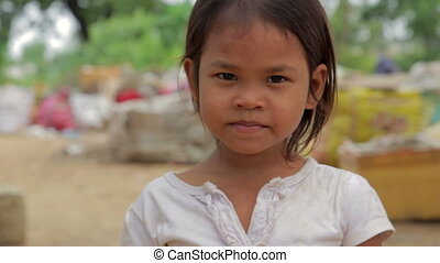 girl, cambodgien, taudis