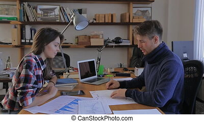 girl came to his financial adviser. charts, annual reports, consultation office