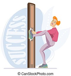 Girl cannot open door to success. Illustration for internet and mobile website.