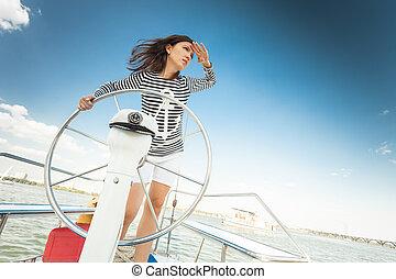 girl captain of the yacht