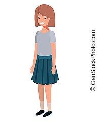 girl, caractère, adolescent, avatar