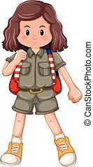 girl, caractère, camping