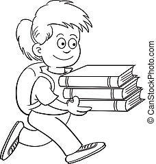 Girl carrying books - Black and white illustration of a girl...