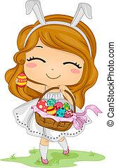 Girl Carrying Easter Basket - Illustration of a Little Girl...
