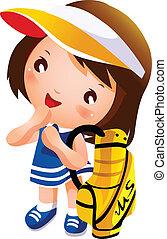 Girl carrying golf bag