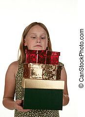 girl carrying presents