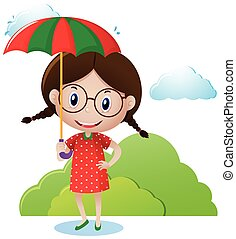 Girl carrying umbrella in the park