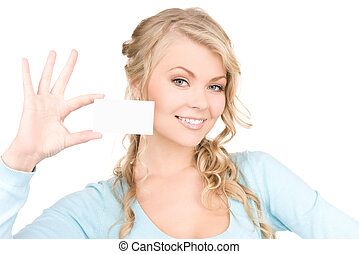 girl, carte affaires, heureux