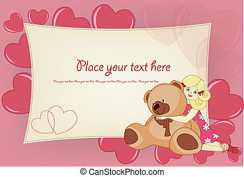 girl, carte voeux, valentin